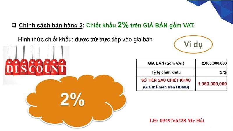 Chiết khấu 2% ngày mở bán