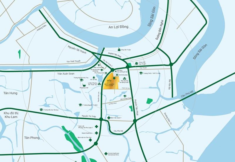 Vị trí căn hộ Eco Green Saigon