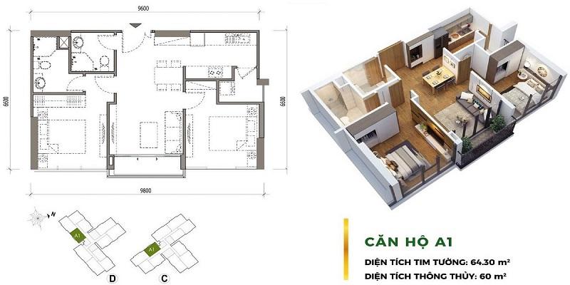 Thiết kế căn hộ 2PN Eco Green