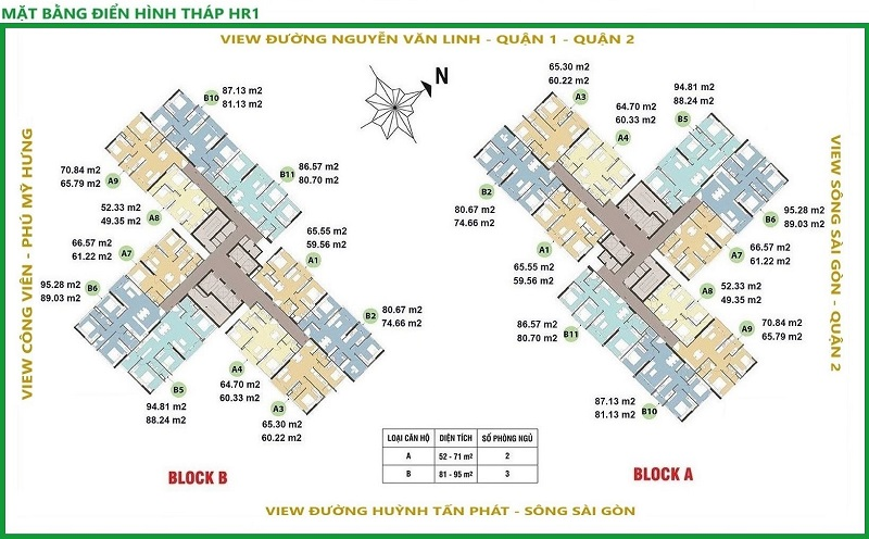 Mặt bằng điển hình tháp HR1