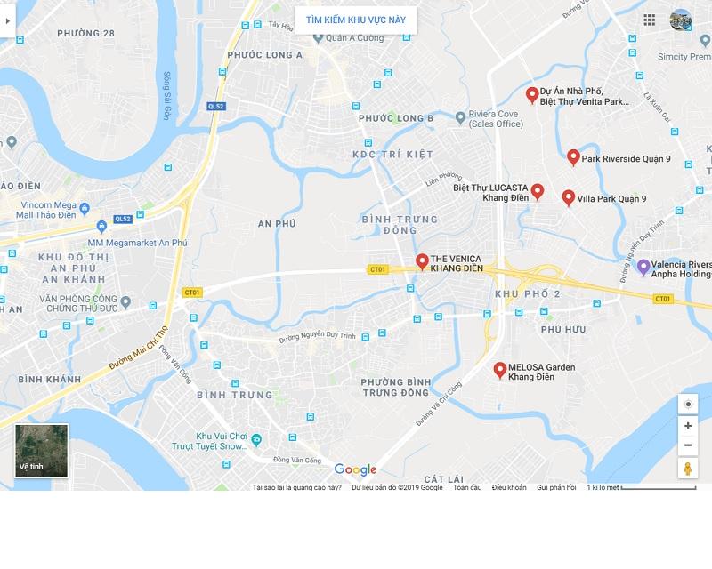 Vi trí dự án mới Khang Điền
