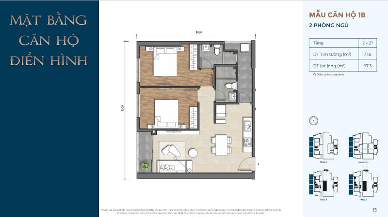Thiết kế căn hộ 2PN Precia